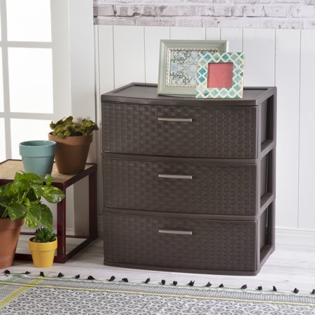 3 Open Storage - Sterilite, 3 Drawer Wide Weave Tower