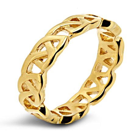 Gold Plated Stainless Steel High Polished Celtic Knot Eternity Ring