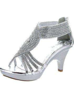 Delicacy Womens Angel-37a Open Toe Med Heel Wedding Dress Sandal Shoes