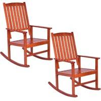 Costway Set of 2 Wood Rocking Chair Porch Rocker Indoor Outdoor Patio Deck Furniture