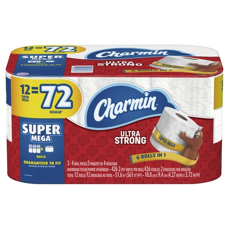 Charmin Ultra Strong Toilet Paper, 12 Super Mega Rolls (= 72 Regular Rolls)