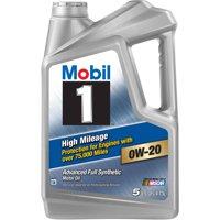 Mobil 1 High Mileage Motor Oil 0W-20, 5 qt