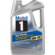 (3 Pack) Mobil 1 High Mileage Motor Oil 0W-20, 5 qt