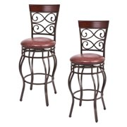 Costway Set Of 2 Vintage Bar Stools Swivel Padded Seat Bistro Dining Kitchen Pub Chair