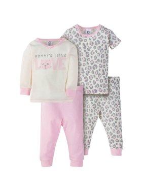 Gerber Mix N Match Cotton Tight Fit Pajamas, 4pc Set (Baby Girls & Toddler Girls)