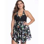a52b4d2262513 Women's Plus Size Floral Printed Ruffled Halter Neck Asymmetric Hem Tankini  Swimwear Two Pieces Beach Wear