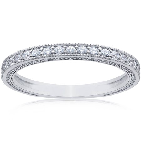 1/2ct Vintage Diamond Wedding Ring 14K White Gold Womens Stackable Band ()