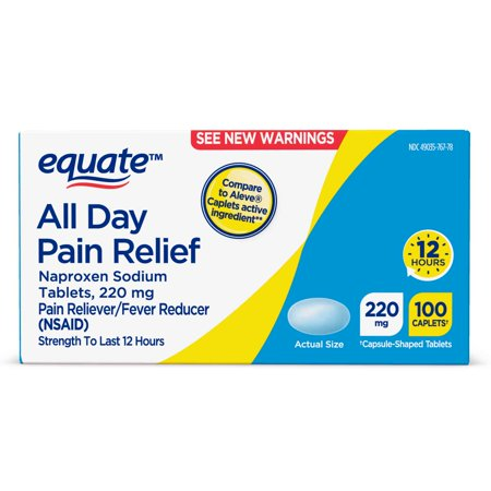 Equate All Day Pain Relief Naproxen Sodium 220mg Caplets, 100 Ct
