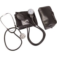 """HealthSmart Manual Blood Pressure Cuff with Aneroid Sphygmomanometer and Stethoscope Kit, Portable Blood Pressure Monitor with Large Adult Cuff and Carrying Case, 10"""" to 14"""", Black"""