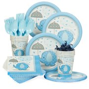 4a4c8b48b40 Umbrellaphants Blue Baby Shower Standard Tableware Kit (Serves 8) - Party  Supplies