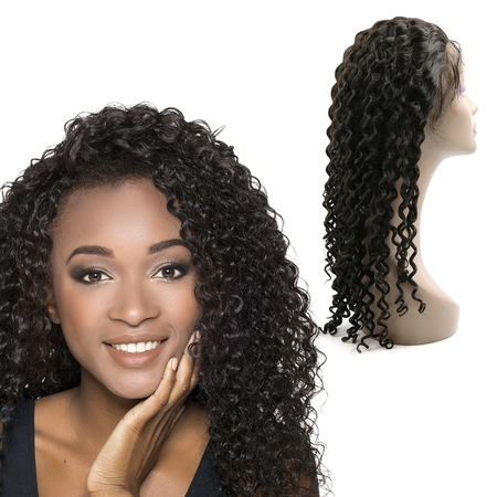 Remy Lace - Unique Bargains Deep Curly Human Hair Wigs 24