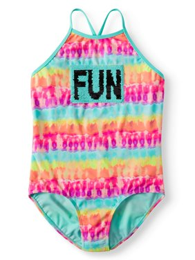 Reversible Flip Sequin Tie-Dye One-Piece Swimsuit (Little Girls, Big Girls & Big Girls Plus)