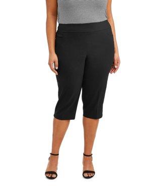Women's Plus Size Stretch Woven Capri Pant