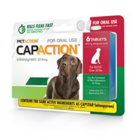 CapAction Fast Acting Flea Treatment for Large Dogs, 6 Tablets