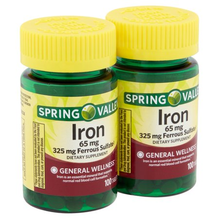Spring Valley Iron Tablets Twin Pack, 65 mg, 200 count, 2 (Best Iron Supplement To Take For Anemia)