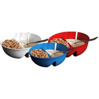 3 Pack - Anti-Soggy Cereal Bowl - Red, White and Blue - Keeps your Cereal Fresh and Crunchy | BPA Free and Microwave Safe | Perfect for Ice Cream & Topping, Yogurt & Berries, Fries & Ketchup, etc
