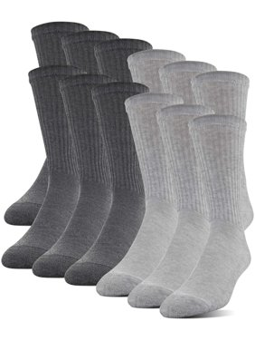 Men's Half Cushion Crew Socks, 12-Pack