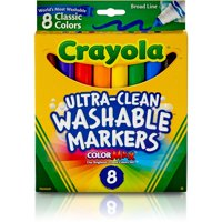 Crayola Washable Markers, Broad Line, Classic Colors, 8 Count