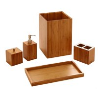 5-Piece Bamboo Bath and Vanity Luxury Bathroom Essentials Accessory Set by Seville Classics