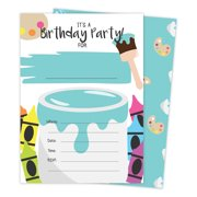 Boys Painting 3 Happy Birthday Invitations Invite Cards 25 Count With Envelopes Seal