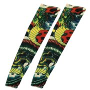 Unique Bargains 2PCS Dragon Pattern Green Red Stretchy Christmas Stocking Fake Tattoo Arm Sleeve