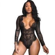 fee197e47f Womens Lace Mesh Sheer Floral Deep V Bodysuit Long Sleeve Romper Clubwear  Jumpsuit