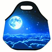 Popeven Fashion Moon Night Pattern Lunch Bag For Women Travel Carry Neoprene Tote Storage Box