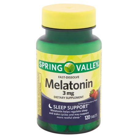 - Spring Valley Fast-Dissolve Melatonin Tablets, 3 mg, 120 count