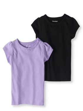 Baby Girls' Short-Sleeve Solid T-Shirts, 2-Pack
