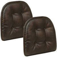 "Gripper Non Slip 15""x16"" Faux Leather Tufted Chair Cushions, Set of 2"