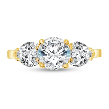 Solid 14k Yellow Gold Round Cut Three Stone Solitaire Engagement Ring CZ Cubic Zirconia (2.0cttw., 1.0ct. Center) , Size 7
