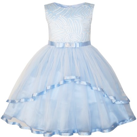 Sunny Fashion Flower Girls Dress Blue Belted Wedding Party Bridesmaid Size 4-12 - Black And White Dresses Girls