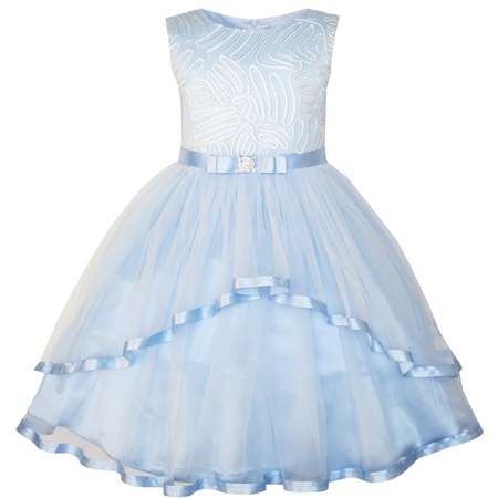 Sunny Fashion Flower Girls Dress Blue Belted Wedding Party Bridesmaid Size