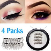 1d828887d42 Magnetic eyelashes, Oak Leaf New Dual Magnetic False Eyelashes - 1 Pairs (4  Pieces) Ultra Thin 3D Fiber Reusable Best Fake Lashes Extension for  Natural, ...