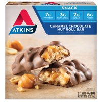 Atkins Caramel Chocolate Nut Roll, 1.6oz, 5-pack (Snack)