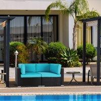 Kinbor 2pcs Outdoor Patio Furniture Sectional Pe Wicker Rattan Sofa Set
