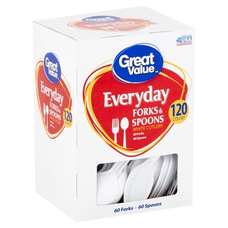 Great Value Everyday White Cutlery Forks & Spoons, 120 - Party Utensils