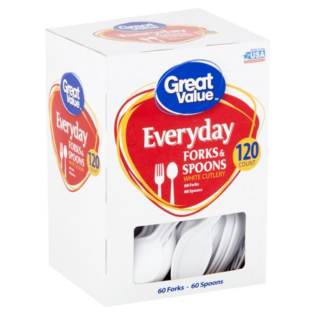 Great Value Everyday White Cutlery Forks & Spoons, 120 count