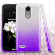 For LG Tribute Dynasty SHINE HYBRID Layered HARD Case Rubber Phone Cover (Gradient Purple Glitter