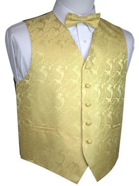 Men's Formal, Prom, Wedding, Tuxedo Vest, Bow-Tie & Hankie Set in Royal Blue Paisley