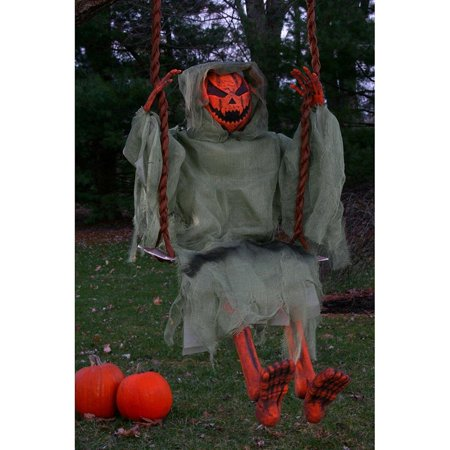 36in. Swinging Dead Pumpkin Halloween Decoration](Raiders Pumpkin)