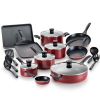 T-Fal Easy Care Thermo-Spot Non-Stick Dishwasher Safe Red Cookware, 20 Piece