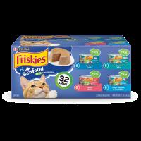 Friskies Pate Wet Cat Food Variety Pack; Seafood Favorites - (32) 5.5 oz. Cans