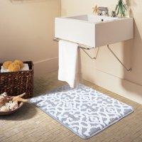 "Better Homes & Gardens Jacquard Memory Foam Bath Rug, 20"" x 34"", Soft Silver/ White"