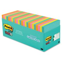 Post-it Super Sticky Notes Cabinet Pack, 3in. x 3in., Miami Collection, 24 Pads
