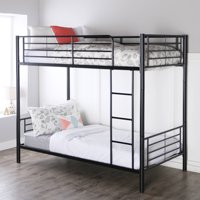 Walker Edison Premium Twin Over Twin Metal Bunk Bed, Black (Multiple Colors Available)