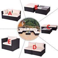 Costway Black Outdoor Patio Rattan Furniture Set Infinitely Combination Cushion Wicker