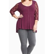 Women Lace Sleeves Plus size Shirt and Blouse Red Vine
