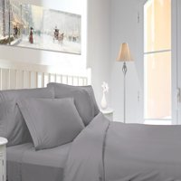 Clara Clark 1800 Series Deep Pocket 4pc Bed Sheet Set King Size, Silver Light Gray