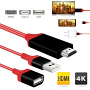 2aac342ae Micro USB to HDMI Media HDTV Adapter 3 in1 USB 1080P 3ft Cable 8 Pin for  Samsung Galaxy S7 S8 S9 S10 Note 5 6 7 10 iPhone X XR XS Max 8 Plus MacBook  Projec ...